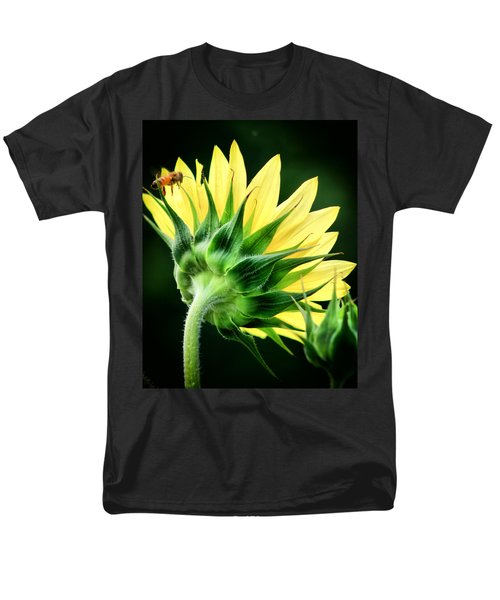 Men's T-Shirt  (Regular Fit) featuring the photograph Sunflower With Bee by Lynne Jenkins