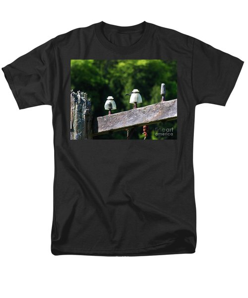 Men's T-Shirt  (Regular Fit) featuring the photograph Telephone Pole And Insulators by Sherman Perry