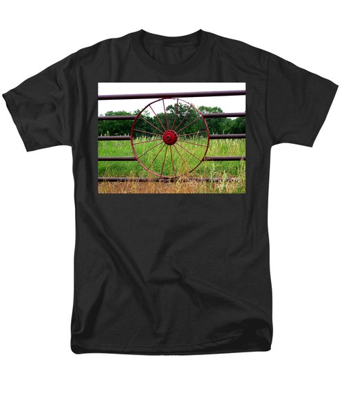 Men's T-Shirt  (Regular Fit) featuring the photograph Texas Wildflowers Through Wagon Wheel by Kathy  White