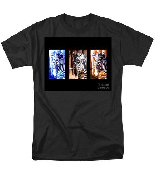Men's T-Shirt  (Regular Fit) featuring the photograph The Three Zebras Black Borders by Rebecca Margraf