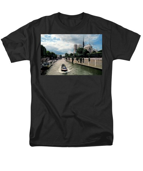 Men's T-Shirt  (Regular Fit) featuring the photograph Tour Boat Passing Notre Dame by Dave Mills