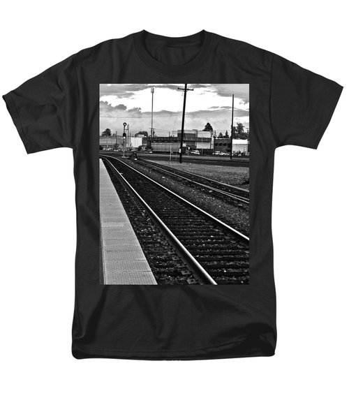 Men's T-Shirt  (Regular Fit) featuring the photograph train tracks - Black and White by Bill Owen
