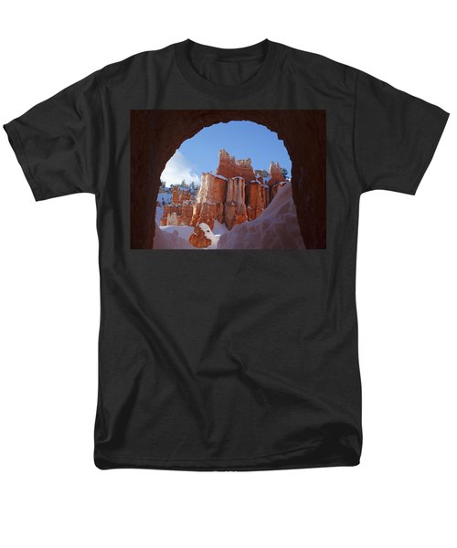 Men's T-Shirt  (Regular Fit) featuring the photograph Tunnel In The Rock by Susan Rovira