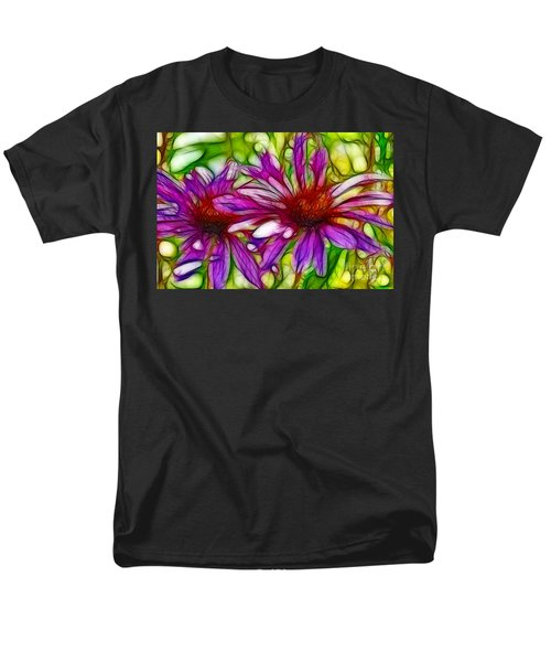 Two Purple Daisy's Fractal Men's T-Shirt  (Regular Fit) by Donna Greene