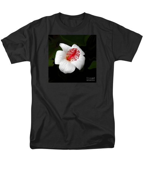 Men's T-Shirt  (Regular Fit) featuring the photograph White Hibiscus Flower by Rebecca Margraf
