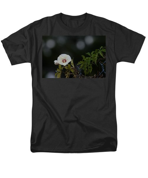 Men's T-Shirt  (Regular Fit) featuring the photograph Wildflower On Fence by Ed Gleichman