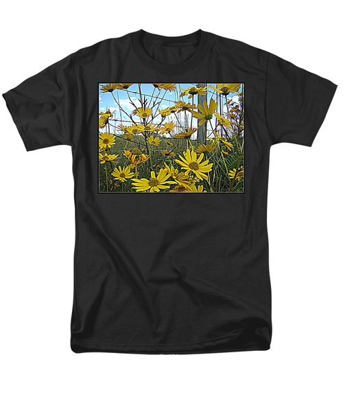 Men's T-Shirt  (Regular Fit) featuring the photograph Yellow Flowers By The Roadside by Alice Gipson