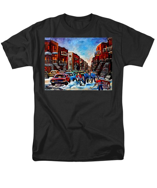 Men's T-Shirt  (Regular Fit) featuring the painting  Late Afternoon Street Hockey by Carole Spandau