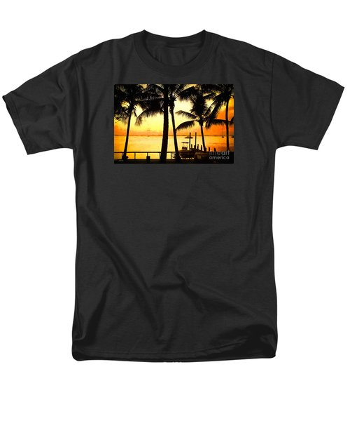 Men's T-Shirt  (Regular Fit) featuring the painting  Palm Sunset On The Keys by Judy Kay