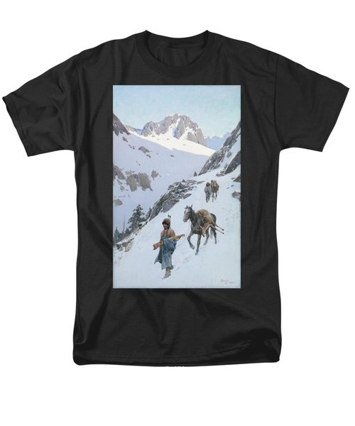 Men's T-Shirt  (Regular Fit) featuring the drawing A Successful Hunt by Henry Francois Farny