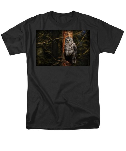 Men's T-Shirt  (Regular Fit) featuring the photograph Barred Owl In Pine Tree by Michael Cummings