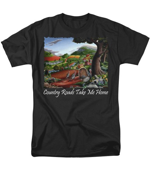 Country Roads Take Me Home T Shirt - Turkeys In The Hills Country Landscape 2 Men's T-Shirt  (Regular Fit) by Walt Curlee