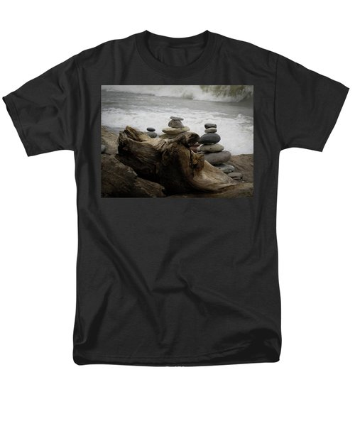 Driftwood Cairns Men's T-Shirt  (Regular Fit) by Kimberly Mackowski