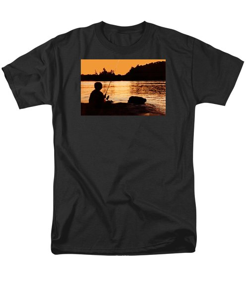 Fishing From A Rock  Men's T-Shirt  (Regular Fit) by Lyle Crump