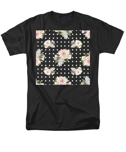 Men's T-Shirt  (Regular Fit) featuring the painting Floral Rose Cluster W Dot Bedding Home Decor Art by Audrey Jeanne Roberts