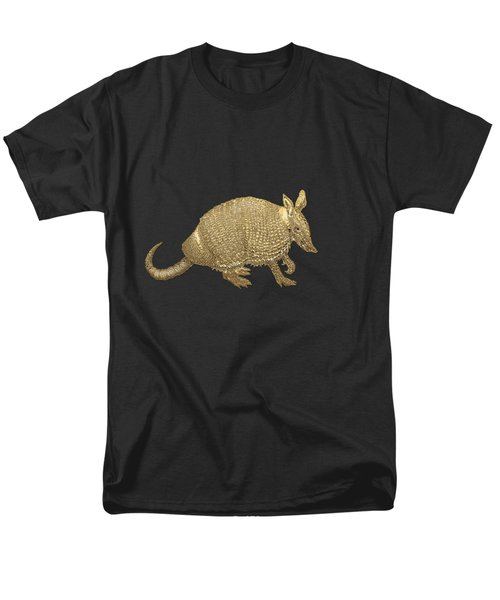Gold Armadillo On Black Canvas Men's T-Shirt  (Regular Fit) by Serge Averbukh