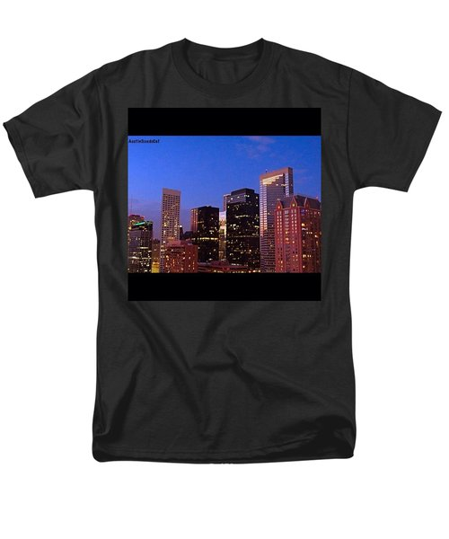 #houston #skyline At Dusk. #night Men's T-Shirt  (Regular Fit) by Austin Tuxedo Cat