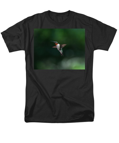 Male Ruby Throated Hummingbird Men's T-Shirt  (Regular Fit) by Brenda Jacobs