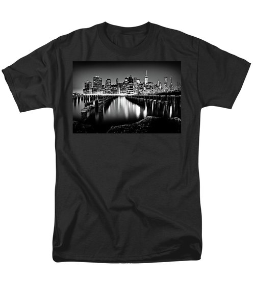 Manhattan Skyline At Night Men's T-Shirt  (Regular Fit) by Az Jackson