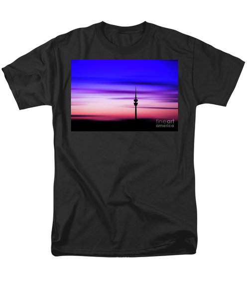 Men's T-Shirt  (Regular Fit) featuring the photograph Munich - Olympiaturm At Sunset by Hannes Cmarits