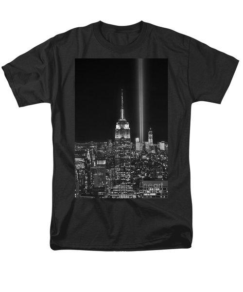 New York City Tribute In Lights Empire State Building Manhattan At Night Nyc Men's T-Shirt  (Regular Fit) by Jon Holiday