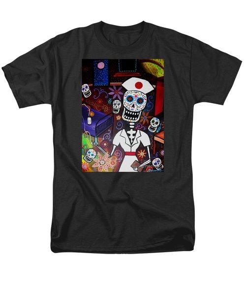 Men's T-Shirt  (Regular Fit) featuring the painting Nurse Dia De Los Muertos  by Pristine Cartera Turkus