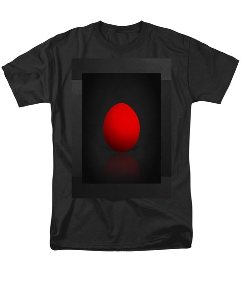 Red Egg On Black Canvas  Men's T-Shirt  (Regular Fit) by Serge Averbukh