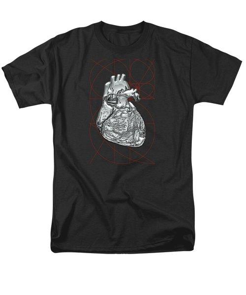 Silver Human Heart On Black Canvas Men's T-Shirt  (Regular Fit) by Serge Averbukh