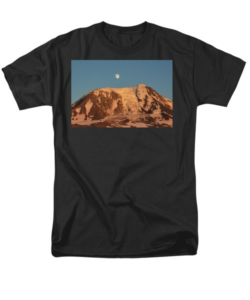 Men's T-Shirt  (Regular Fit) featuring the photograph Sunset And Moonrise At Mt Adams by Jack Moskovita