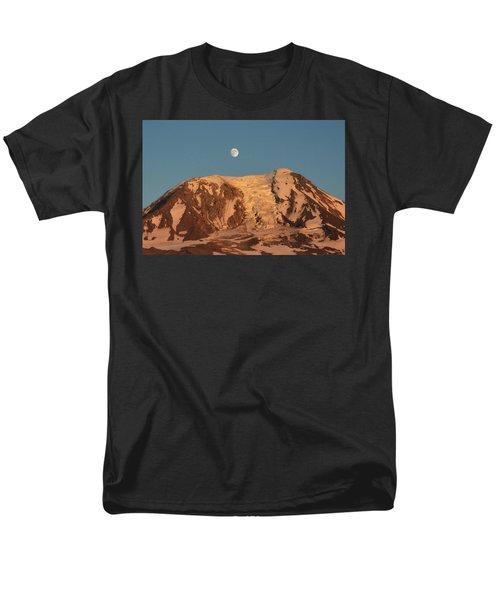 Sunset And Moonrise At Mt Adams Men's T-Shirt  (Regular Fit) by Jack Moskovita