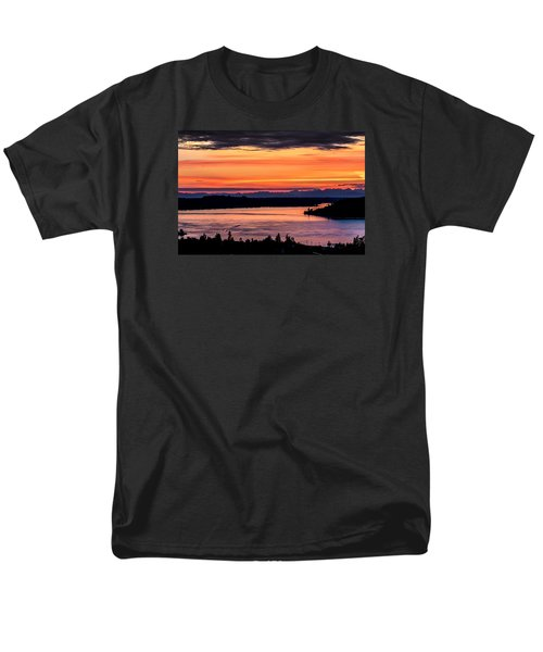 Sunset Over Hail Passage On The Puget Sound Men's T-Shirt  (Regular Fit) by Rob Green
