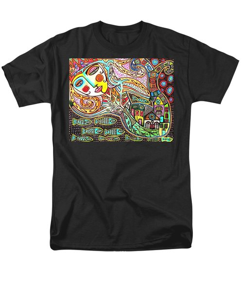 Tree Of Life Village Mermaid Men's T-Shirt  (Regular Fit) by Sandra Silberzweig