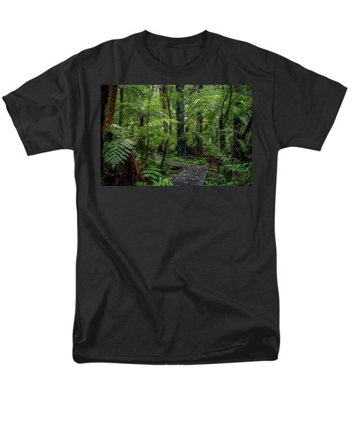 Men's T-Shirt  (Regular Fit) featuring the photograph Forest Boardwalk by Les Cunliffe