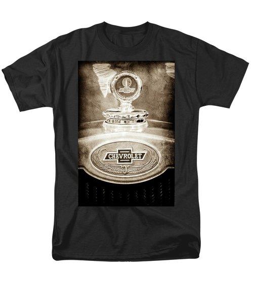 Men's T-Shirt  (Regular Fit) featuring the photograph 1928 Chevrolet 2 Door Coupe Hood Ornament Moto Meter -0789s by Jill Reger