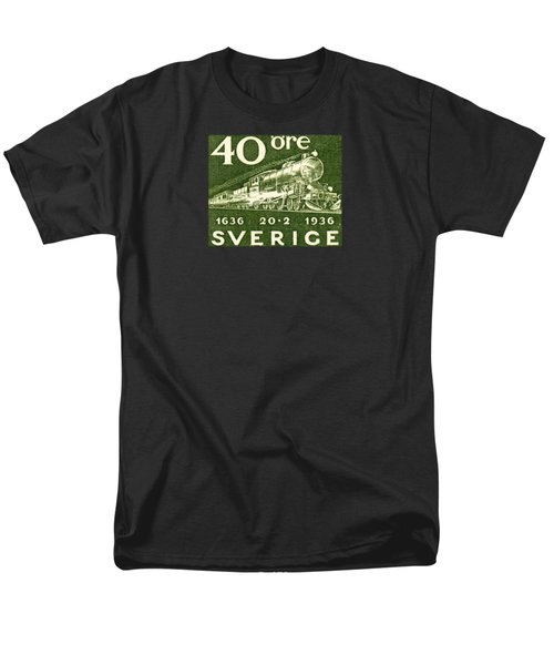 1936 Swedish Railroad Stamp Men's T-Shirt  (Regular Fit) by Historic Image