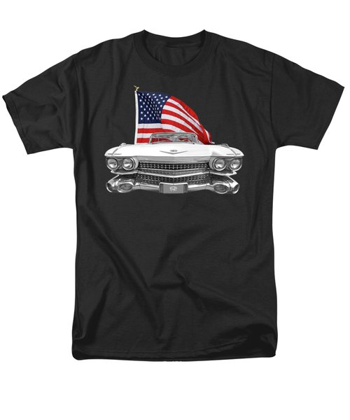 Men's T-Shirt  (Regular Fit) featuring the photograph 1959 Cadillac With Us Flag by Gill Billington