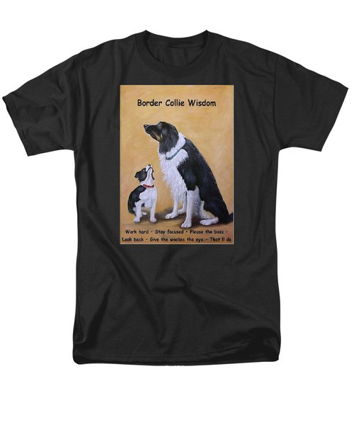 Men's T-Shirt  (Regular Fit) featuring the painting Border Collie Wisdom by Fran Brooks