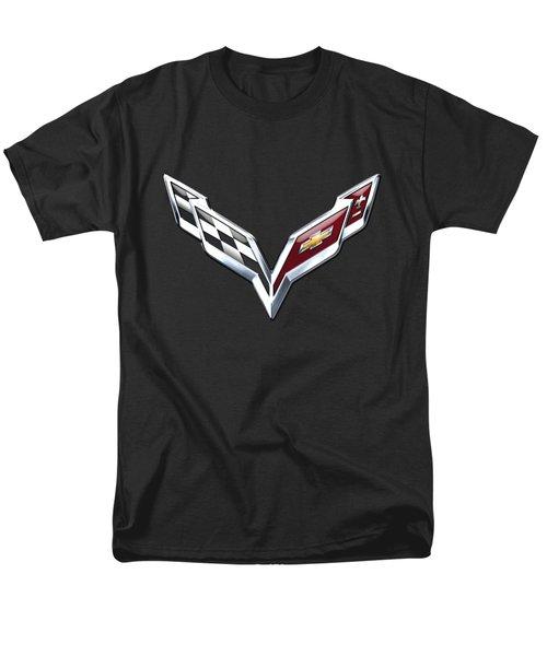 Chevrolet Corvette 3d Badge On Black Men's T-Shirt  (Regular Fit)
