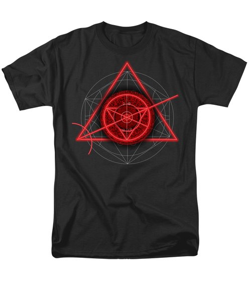 Occult Magick Symbol On Red By Pierre Blanchard Men's T-Shirt  (Regular Fit) by Pierre Blanchard