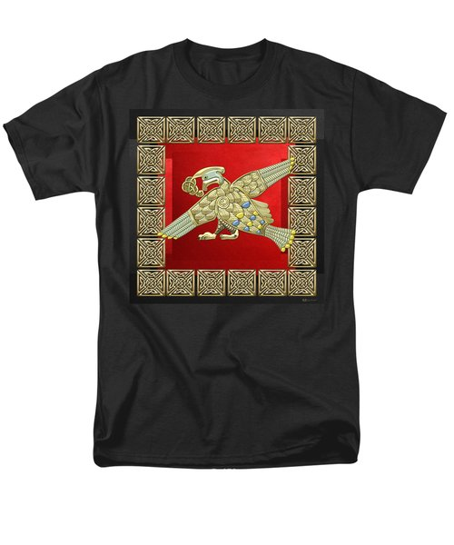 Sacred Celtic Bird On Red And Black Men's T-Shirt  (Regular Fit) by Serge Averbukh