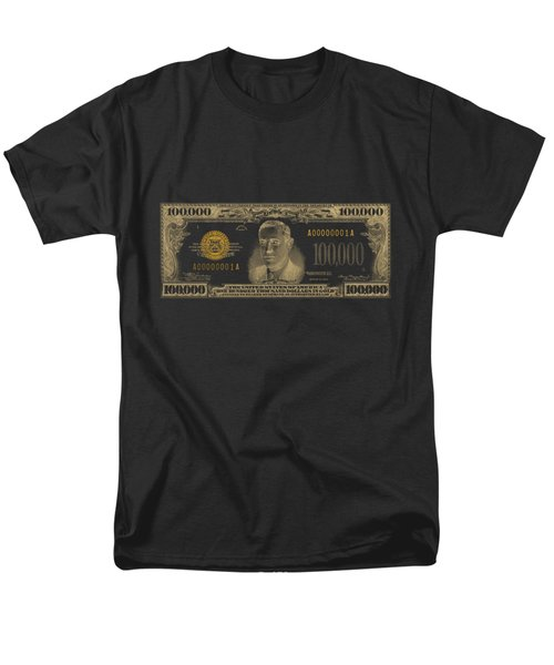 Men's T-Shirt  (Regular Fit) featuring the digital art U.s. One Hundred Thousand Dollar Bill - 1934 $100000 Usd Treasury Note In Gold On Black  by Serge Averbukh