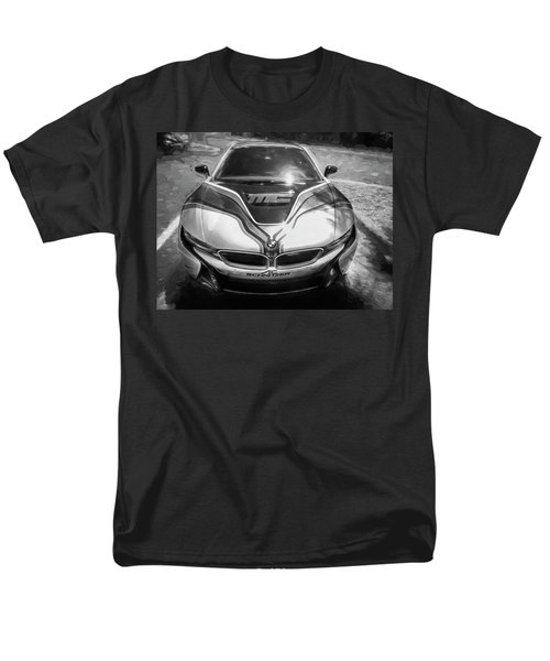 Men's T-Shirt  (Regular Fit) featuring the photograph 2015 Bmw I8 Hybrid Sports Car Bw by Rich Franco
