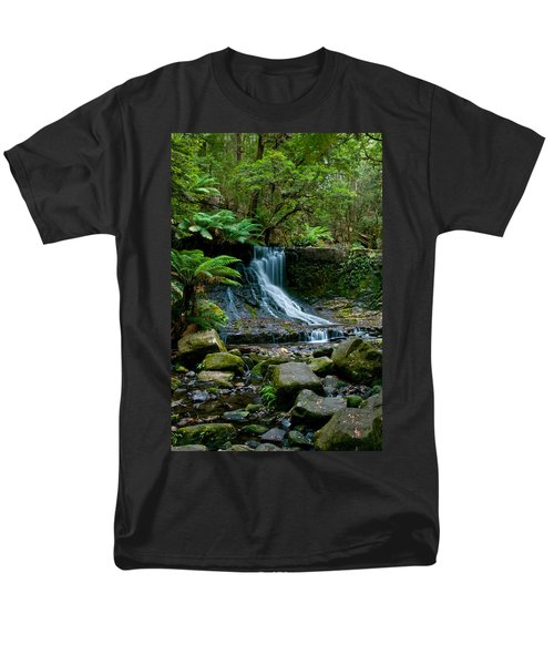 Waterfall In Deep Forest Men's T-Shirt  (Regular Fit) by Ulrich Schade