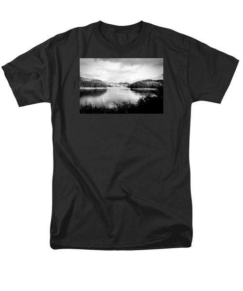 A Black And White Landscape On The Nantahala River Men's T-Shirt  (Regular Fit) by Kelly Hazel