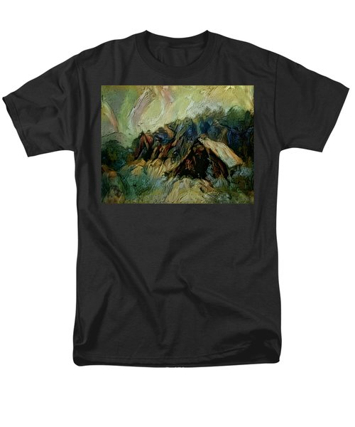 Men's T-Shirt  (Regular Fit) featuring the painting A Chance In The World Movie Dark Barn Crowded Into A Gully Between A Large Rocky Hill And A Grove Of by Mendyz