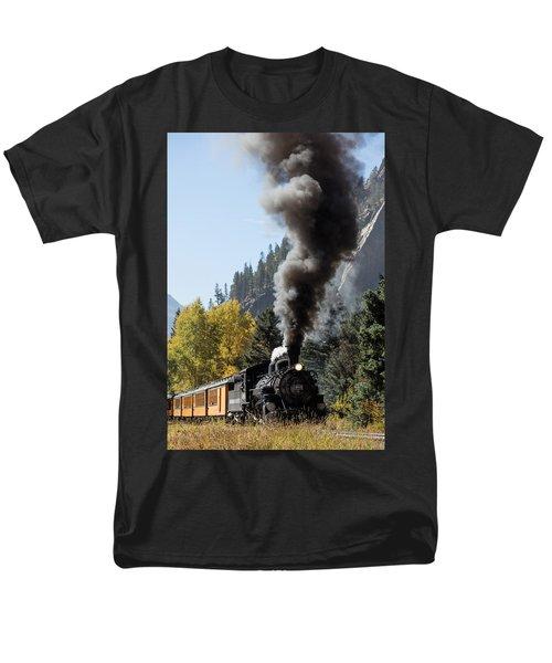 A Durango And Silverton Narrow Gauge Scenic Railroad Train Chugs Through The San Juan Mountains Men's T-Shirt  (Regular Fit) by Carol M Highsmith