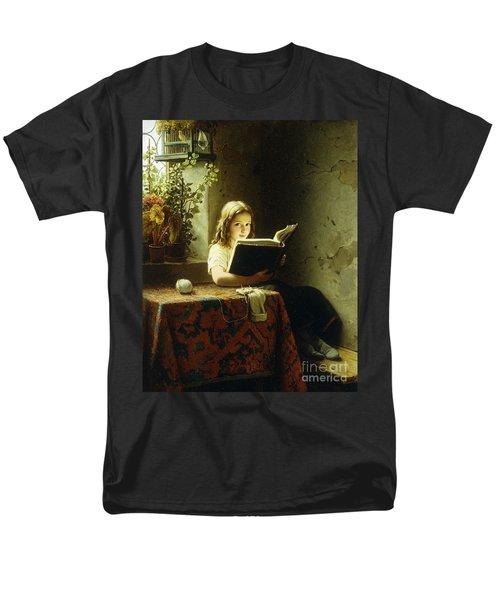 A Girl Reading Men's T-Shirt  (Regular Fit) by Johann Georg Meyer