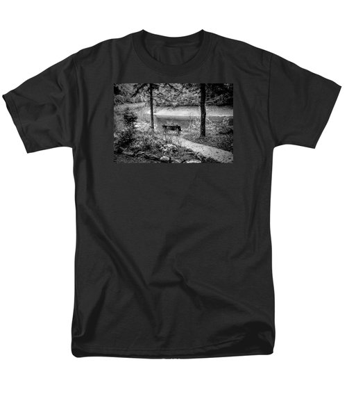 Men's T-Shirt  (Regular Fit) featuring the photograph A Lone Bench By The Nantahala River by Kelly Hazel