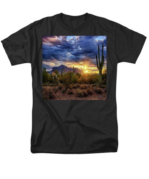 Men's T-Shirt  (Regular Fit) featuring the photograph A Sonoran Desert Sunrise - Square by Saija Lehtonen