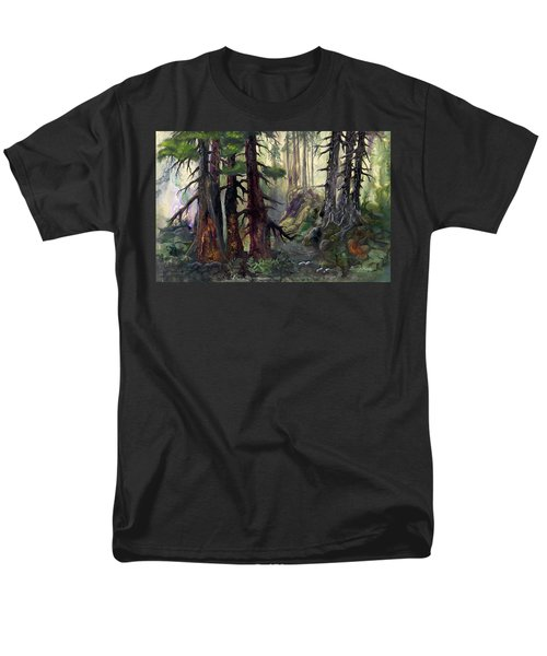 Men's T-Shirt  (Regular Fit) featuring the painting A Walk In The Woods by Sherry Shipley